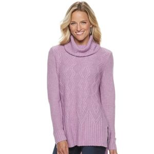 {Sonoma} Cable-knit Cowl Sweater in Lavender …